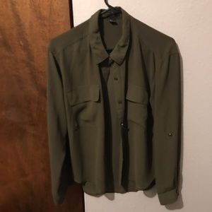 Forever 21 Green Button Up
